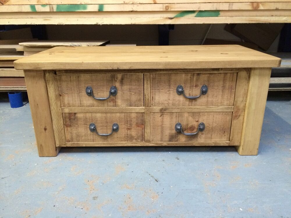 Rustic Coffee Table Large With 4 Drawers Can Be Made Any Size Ebay