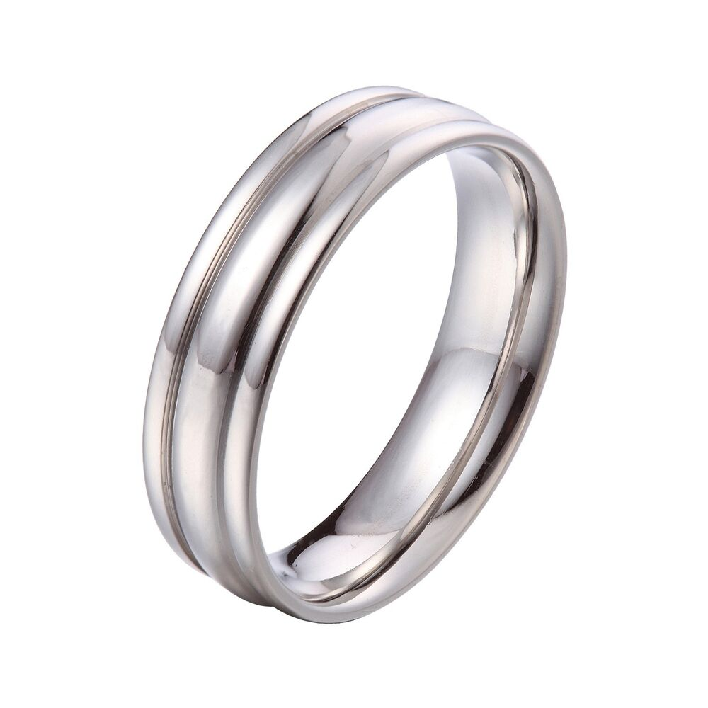 4mm 6mm Silver Stainless Steel Comfort Fit Wedding Band