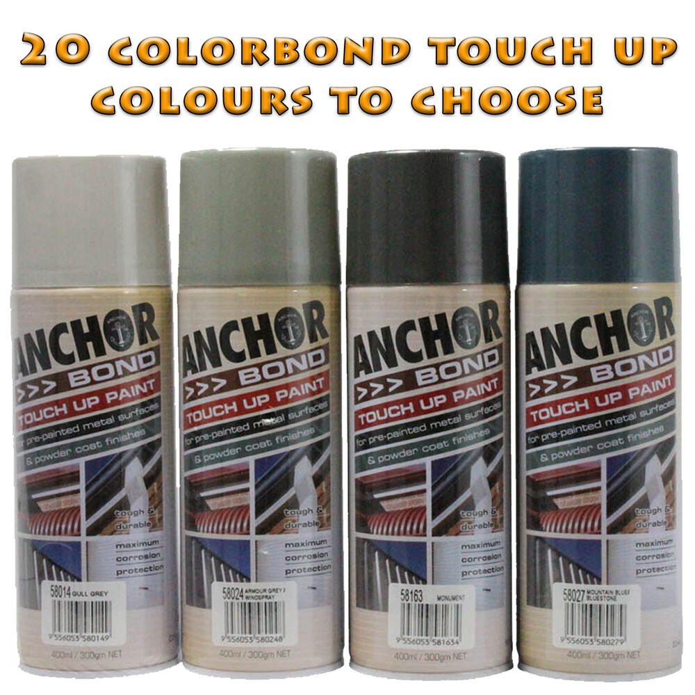 anchorbond colorbond touch up spray paints 20 colours to. Black Bedroom Furniture Sets. Home Design Ideas