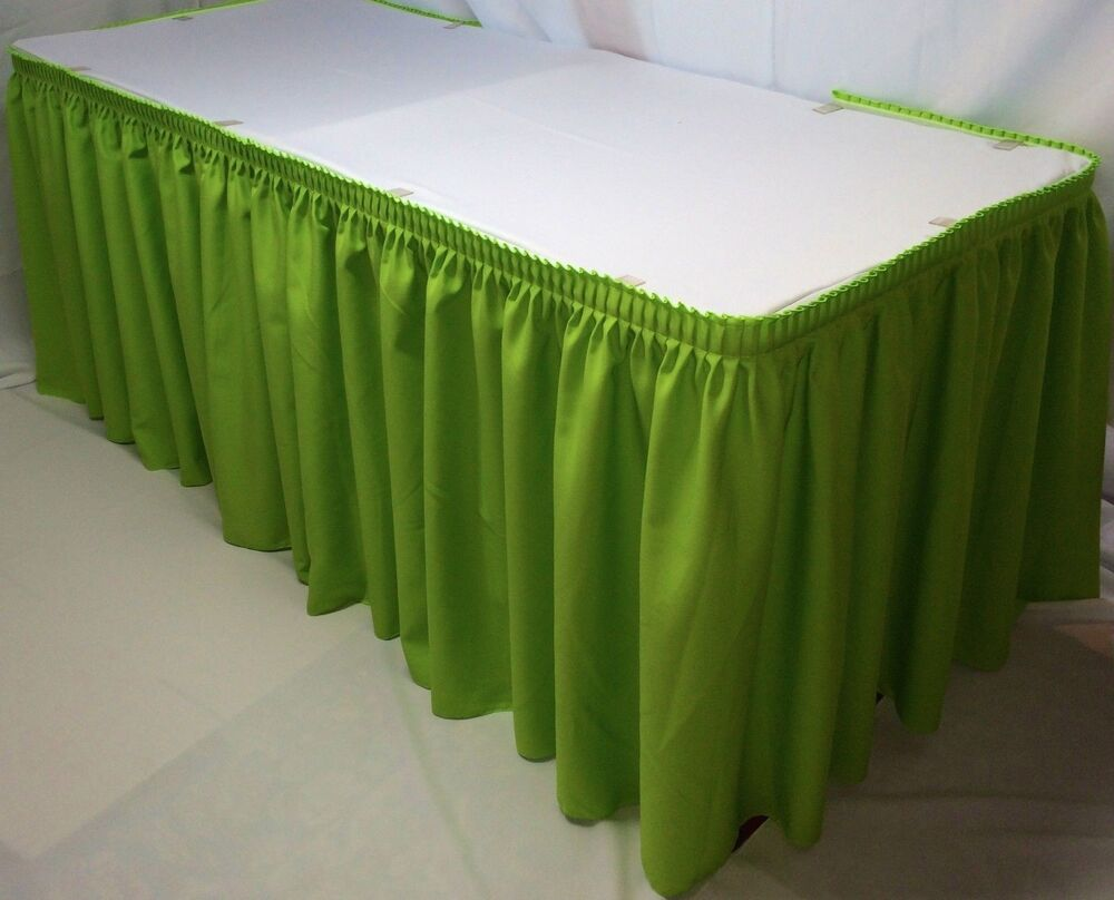 14 39 polyester pleated table skirt skirting trade show for Table skirting