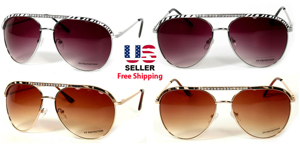 b8ea585278 ZEBRA CHEETAH ICED BLING RHINESTONES WOMEN AVIATOR STYLE SUNGLASSES SHADES
