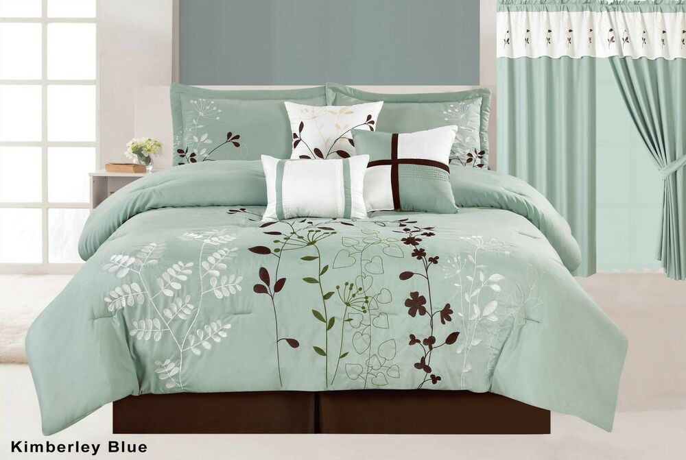 7pc Floral Embroidered Microfiber Comforter Set Sage Teal