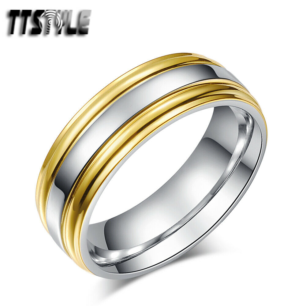 TTstyle Two Tone Gold Stripe Stainless Steel Wedding Band Ring Mens Amp Womens