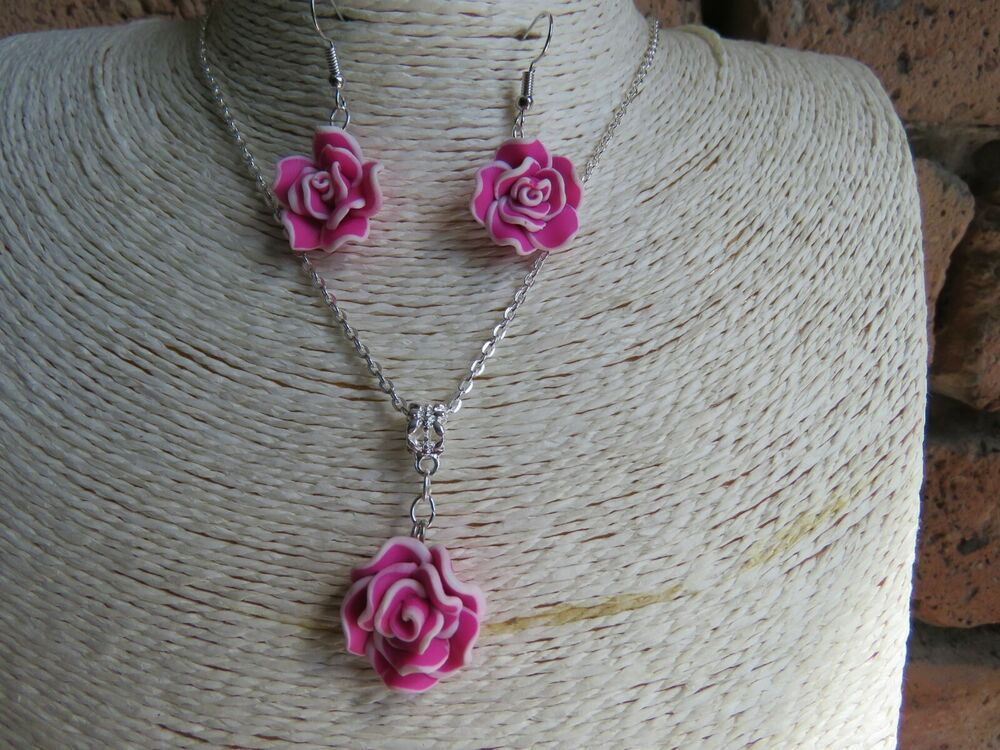 Flower Necklace Earring Sets Wedding Bridesmaid Flowergirl Gift Sets