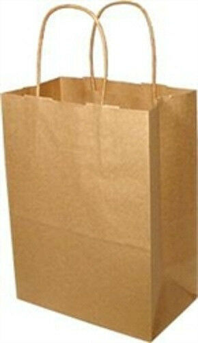 TEMPO BROWN PAPER HANDLE SHOPPING/GIFT BAG, 8X4.5X10.25