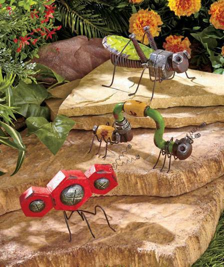 New painted hardware garden insect outdoor bug statue for Lawn and garden decorative accessories