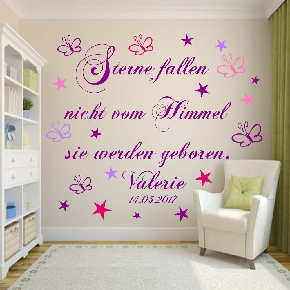 wandtattoo aa114 kinderzimmer sterne fallen nicht vom himmel baby geburt ebay. Black Bedroom Furniture Sets. Home Design Ideas