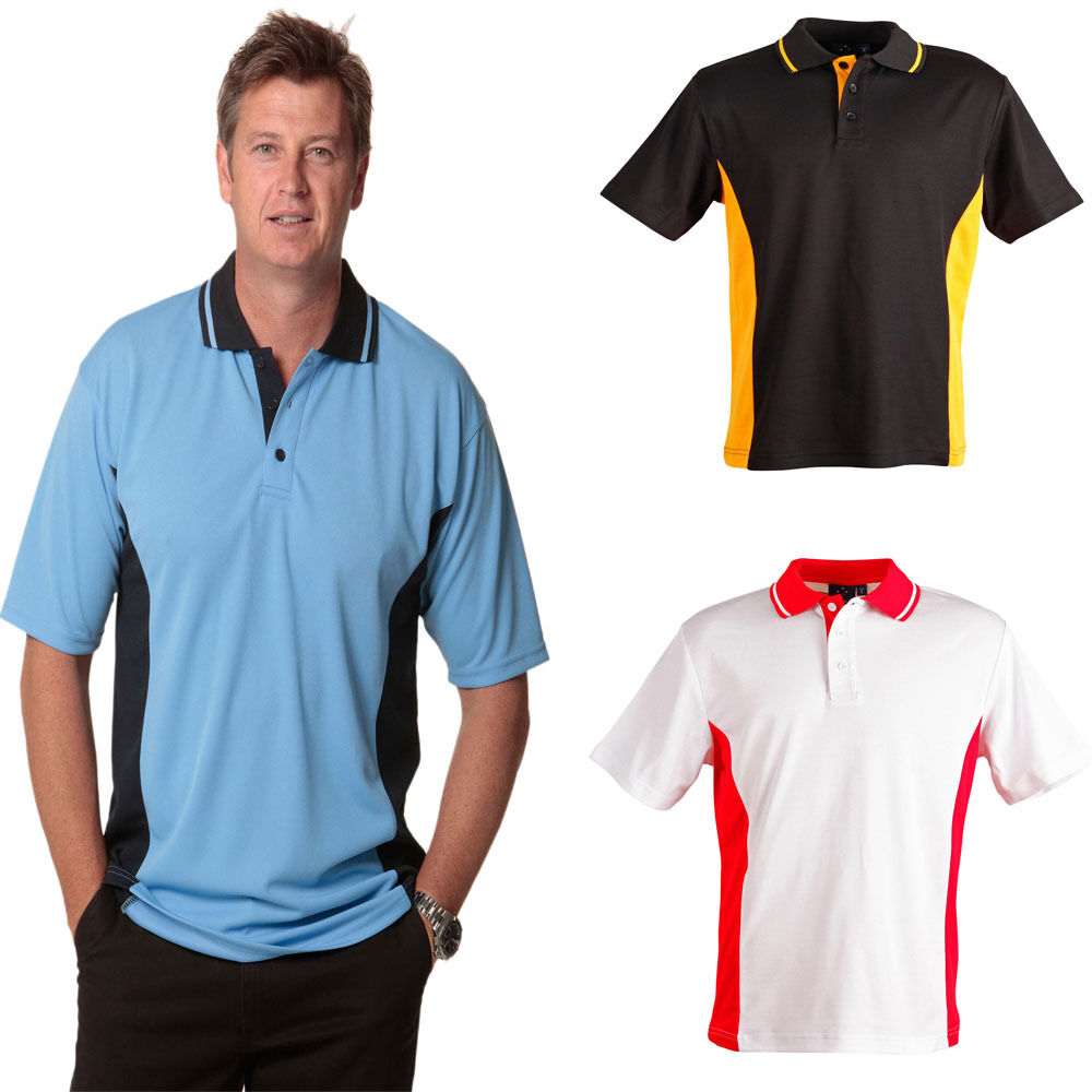 New mens team polo coloured tshirt shirt casual work for Men s athletic polo shirts