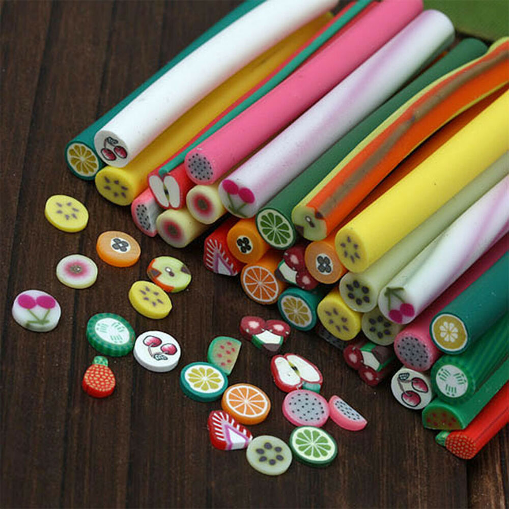 10pcs new mixed 3d canes rods fimo clay fruit sticks nail for 3d nail art fimo canes rods decoration