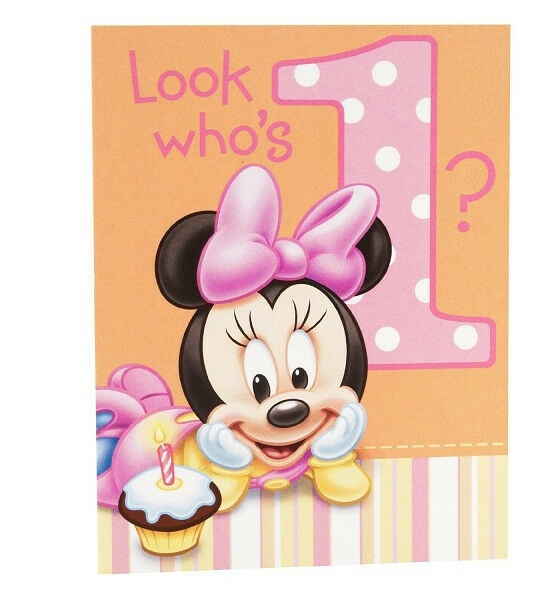 Disney MINNIE MOUSE 1st Birthday ~(8) Invitations With
