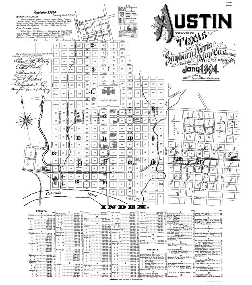 Map Of Texas Cities Some Of The Cities I Ve: Old City Map - Austin Texas - Sanborn 1894 - 23 X 25.98