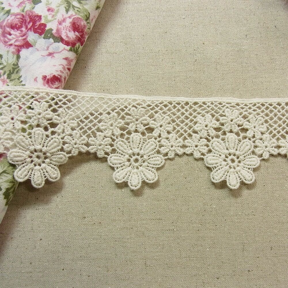 1 Yds Antique St Scalloped Embroidery Cotton Fabric Crochet Lace Trim 5cm Wide | EBay