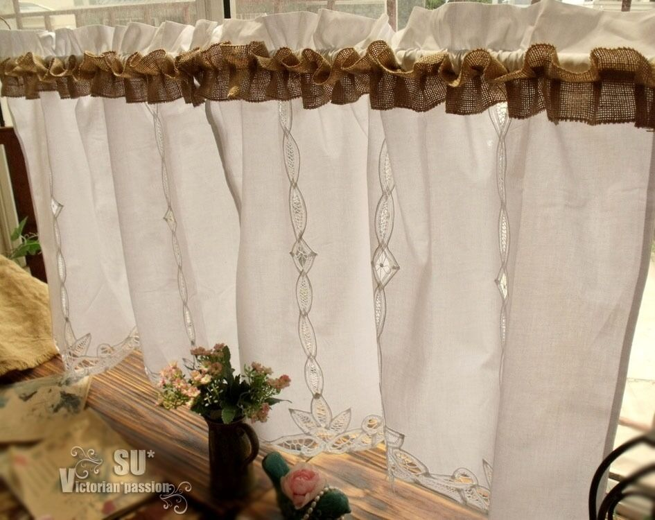 Pair 2 shabby rustic chic burlap window cafe curtains for Burlap christmas curtains