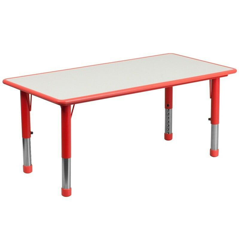 Adjustable rectangular red kid s activity table with grey top ebay
