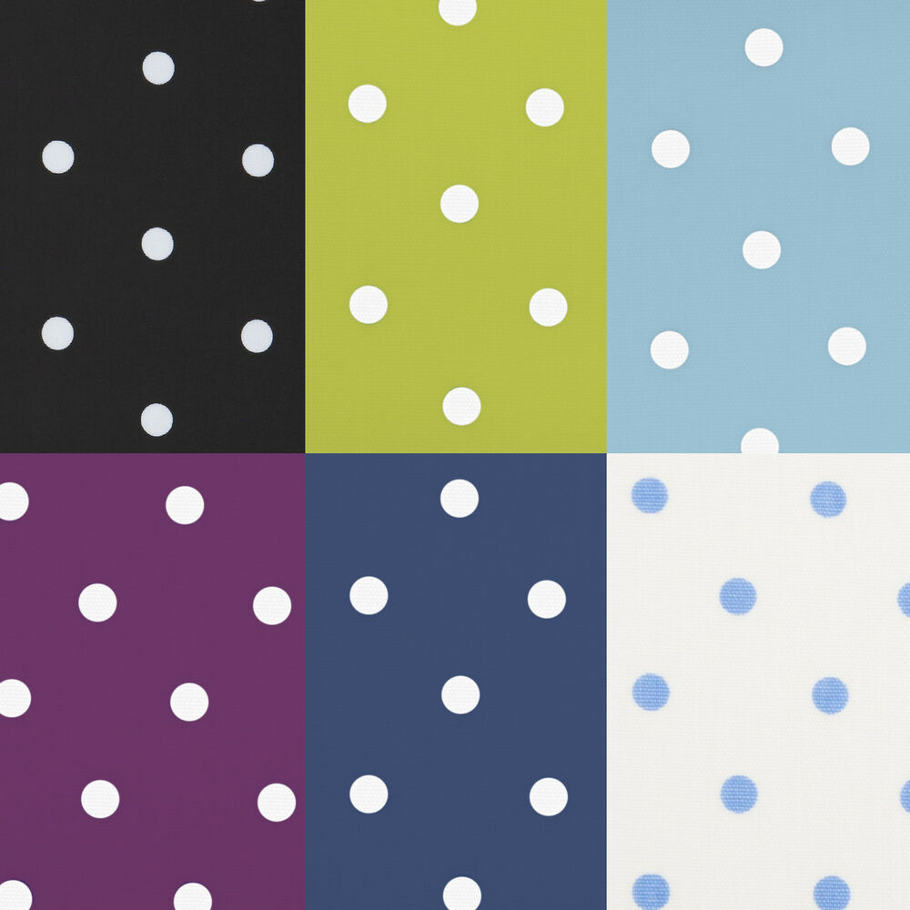 Polka dot oilcloth wipeclean pvc tablecloth all sizes for Black polka dot tablecloth