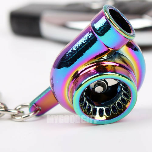 Turbo Keychain: Spinning Turbo Charger Keychain Keyring Key Chain Rainbow