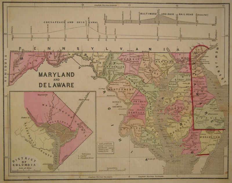 1856 Genuine Antique map of Maryland & Delaware. by C. Morse | eBay