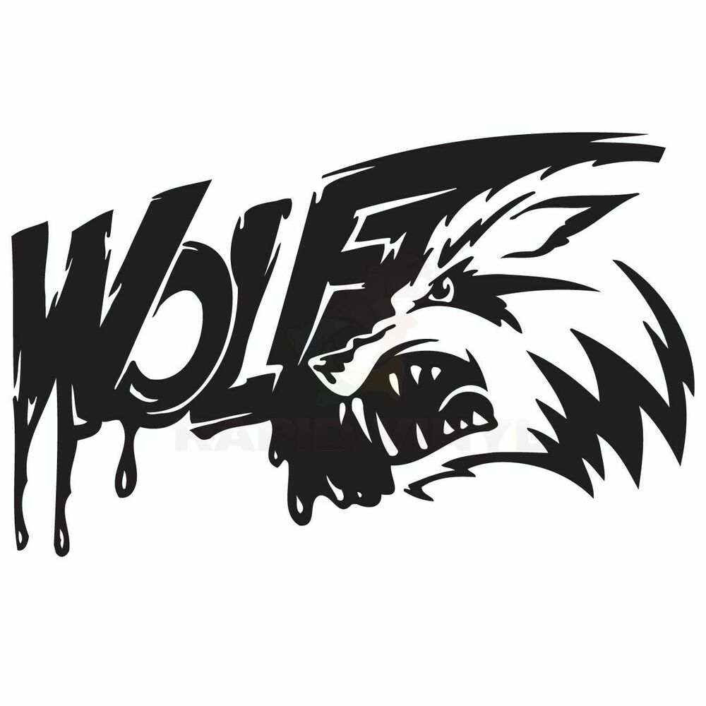 bloody angry wolf teeth car truck boat rv decal window sticker window decal ebay. Black Bedroom Furniture Sets. Home Design Ideas