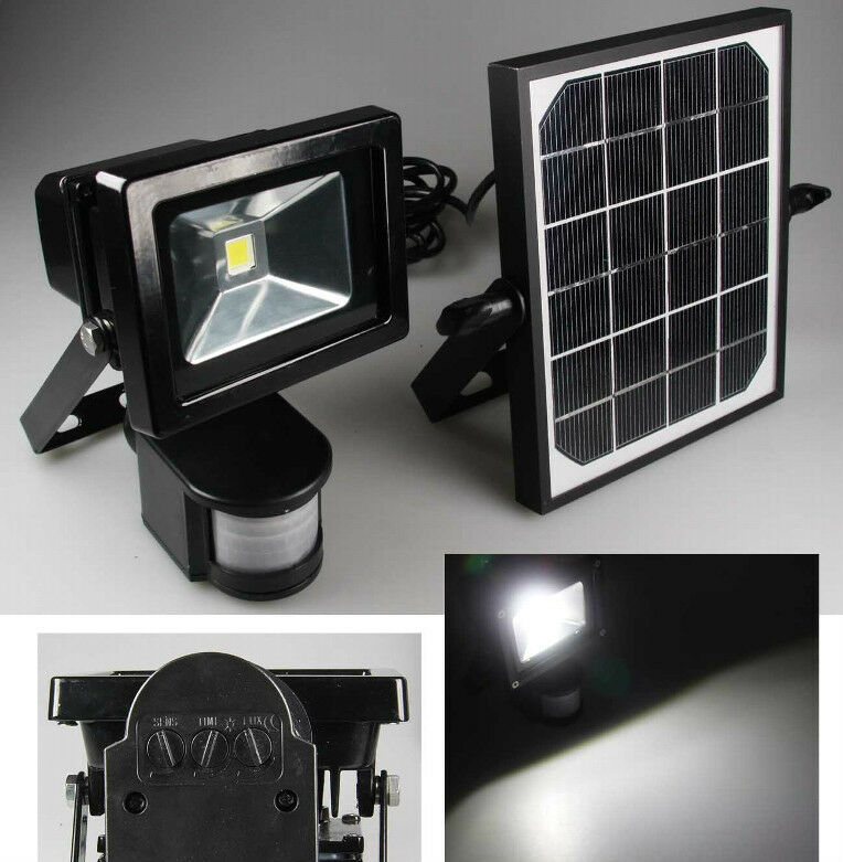 solar led fluter mit bewegungsmelder und akku au en strahler 10w highpower ebay. Black Bedroom Furniture Sets. Home Design Ideas