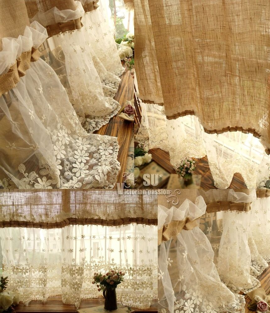 "72"" Shabby Rustic Chic Burlap Shower Curtain Lace Ruffles Flower ..."