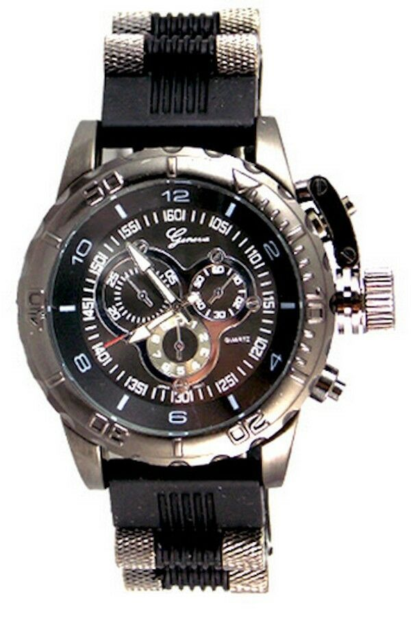 Black Mens Geneva Oversized Designer Fashion Luxury Watch ...