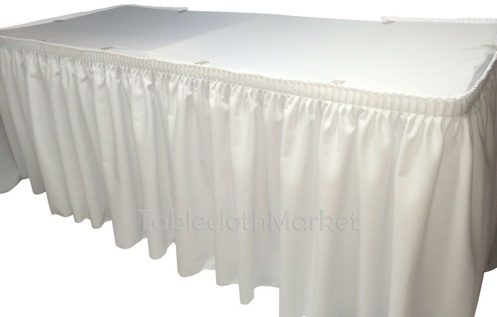 14 White Polyester Pleated Table Skirt Skirting Wedding