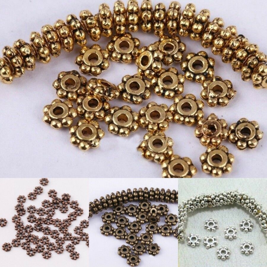100pcs antique silver bronze gold tone mini flower