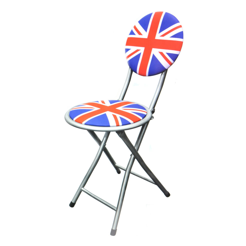 Folding Union Jack Chair Portable Fold Away Metal Camping