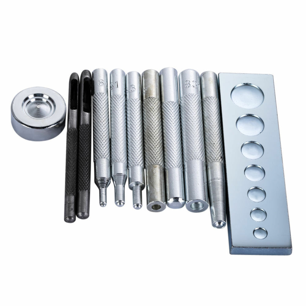 Rivet Punch Set : Set craft tool die punch snap rivet setter base kit diy