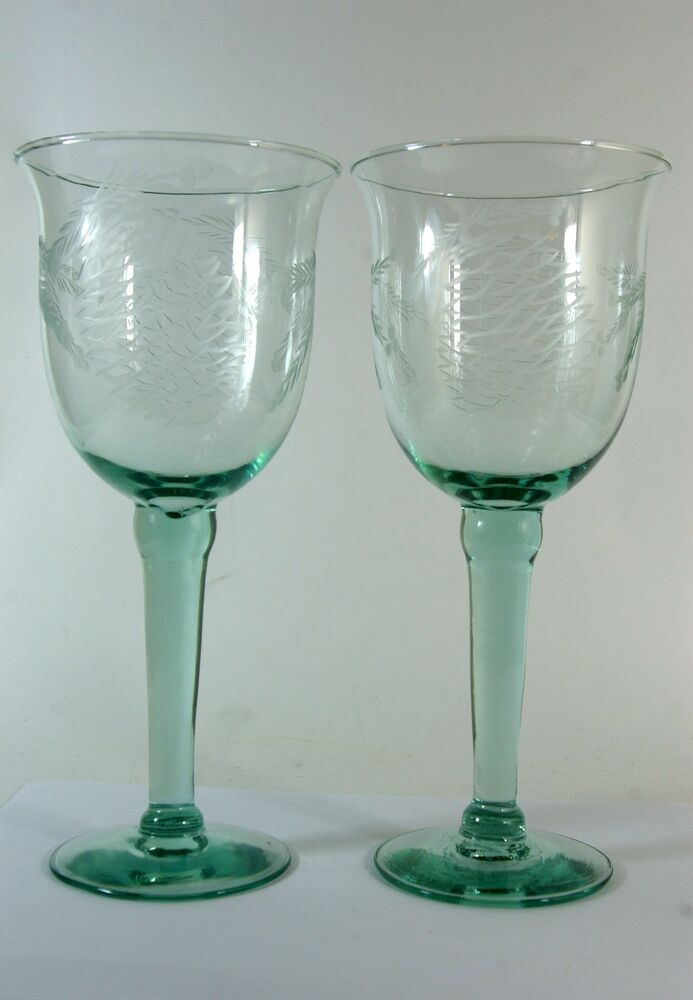 Christmas Wine Glasses Etched Hand Blown 22 Ounces Set Of