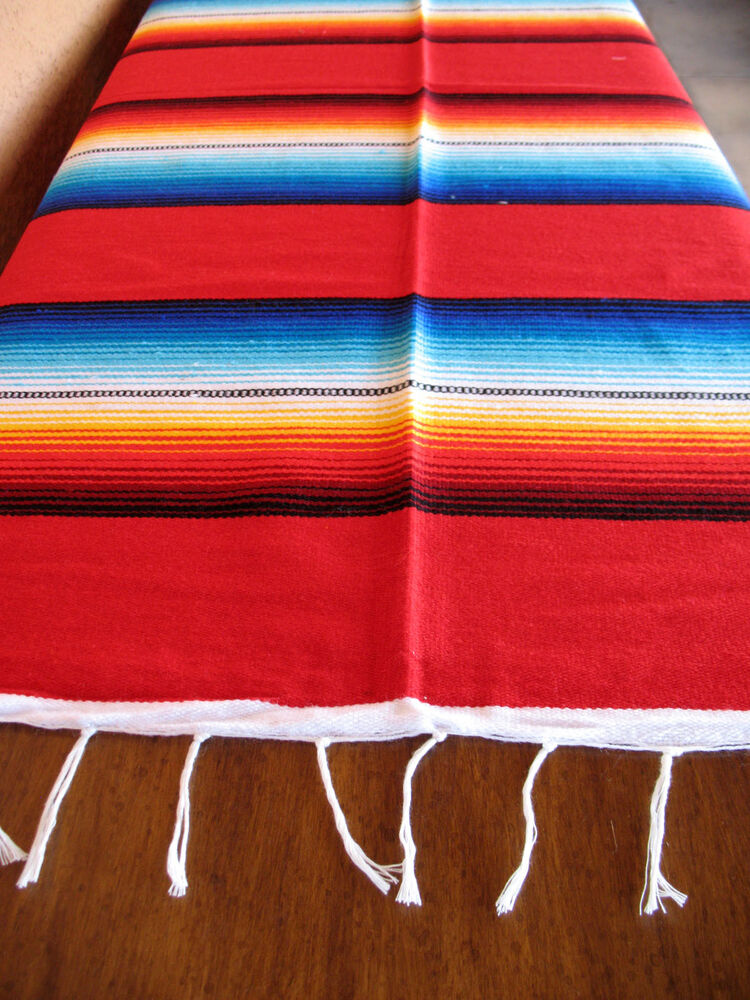serape onws red blanket table cover seat cover throw mexican design 5 39 x 7 39 ebay. Black Bedroom Furniture Sets. Home Design Ideas
