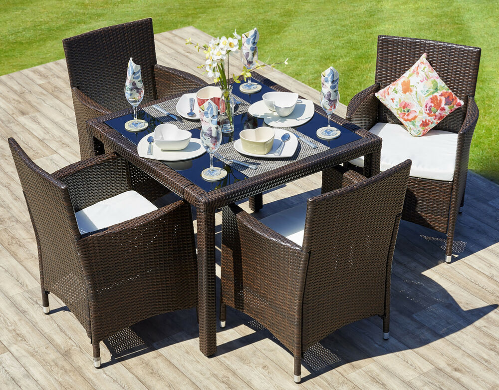 Rattan outdoor garden furniture dining table set 4 chairs for Garden furniture table and chairs