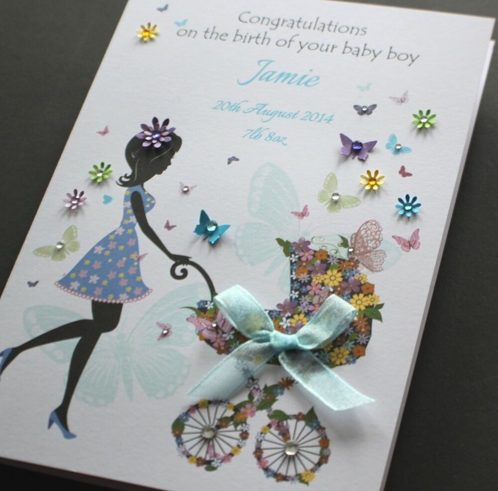 large a5 handmade personalised congratulations cute new