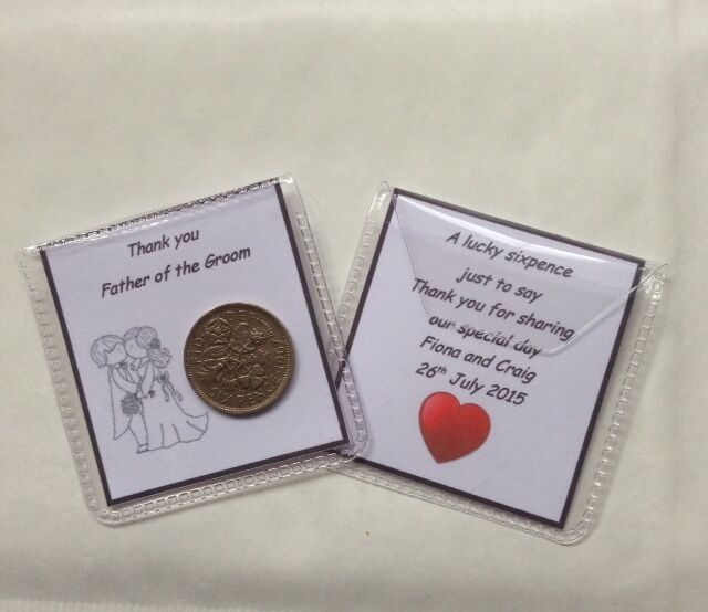 Lucky Wedding Gifts: Personalised Lucky Sixpence Wedding Favour Gift
