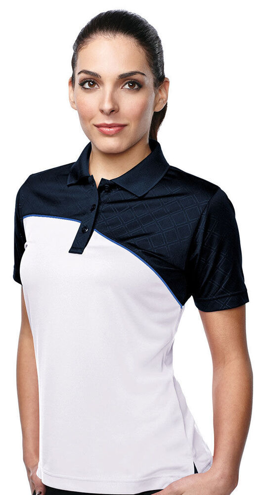 Tri mountain women 39 s three button placket short sleeve for Womens button up polo shirts