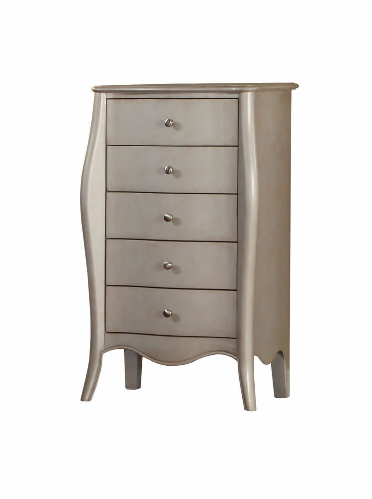 Kings Brand Silver Finish Wood Accent Lingerie Chest
