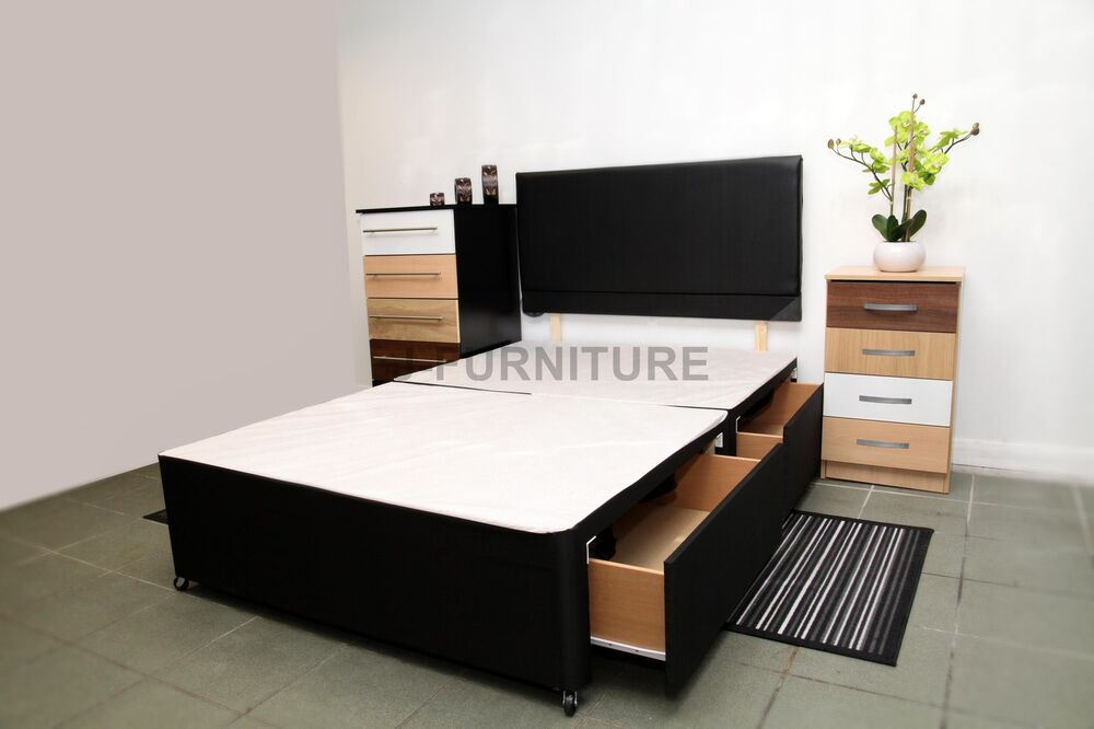 5ft King Size Divan Bed Base With Two Drawers Free Headboard Ebay