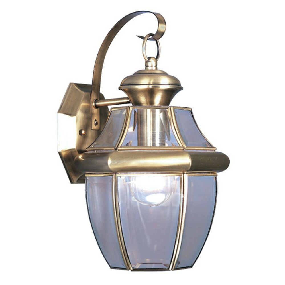 Brass Outdoor Wall Sconces : Antique Brass Livex Monterey Outdoor 1 Light Wall Sconce Sale Lighting 2151-01 eBay