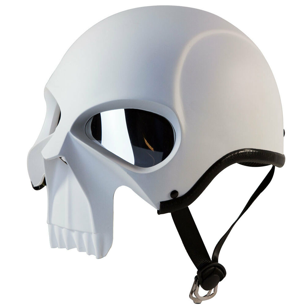 3D SKULL SKELETON MATTE WHITE HALF MOTORCYCLE CRUISER ...