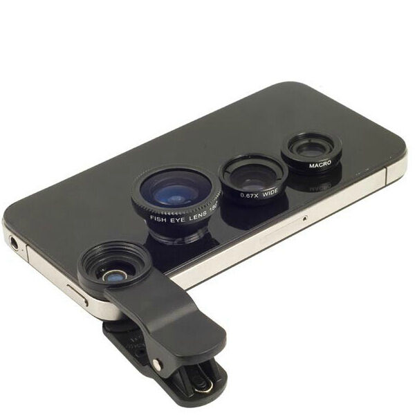 iphone camera lens black 3in1 fish eye macro wide angle clip on lens 1421