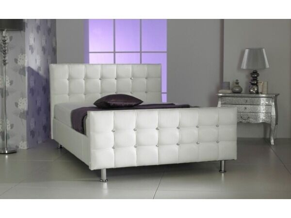 cube diamante faux leather bed white crystals 3ft 46 5ft diamonte bed frame
