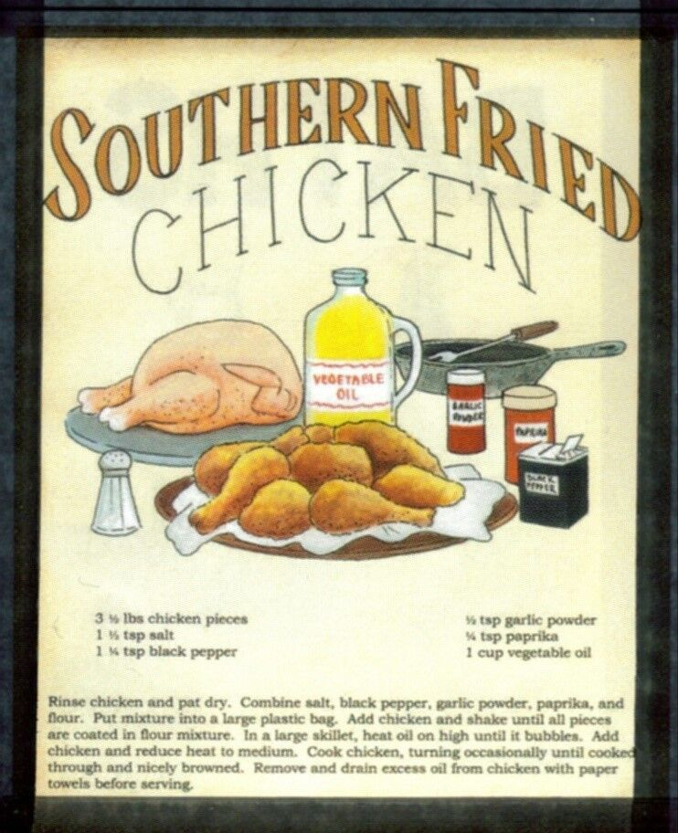Primitive Country Kitchen Southern Fried Chicken Recipe Sign Decor