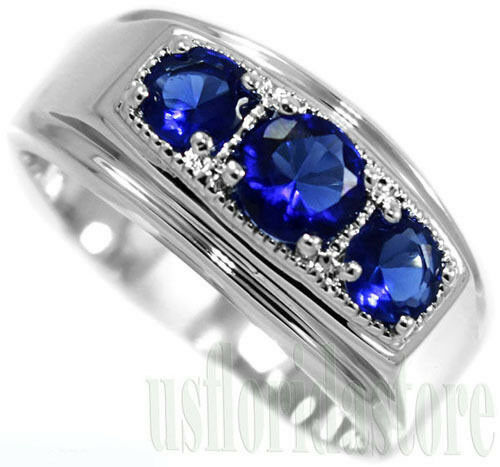 Three Blue Round Stones 925 Sterling Silver Mens Ring EBay