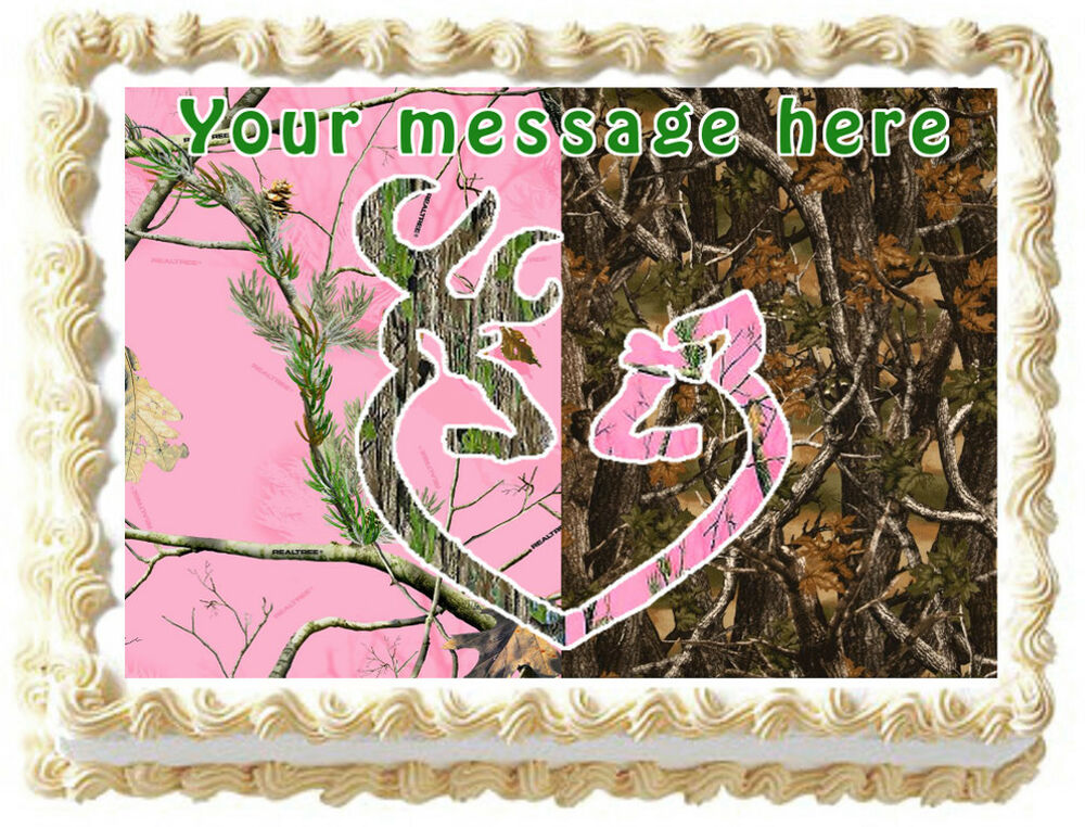 Pink camo tree buck and doe edible image cake topper for Pink camo decorations