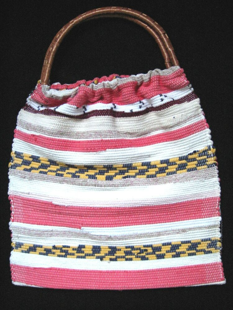 Carpet bag woven tote weekender craft knitting beach bag for Handles for bags craft
