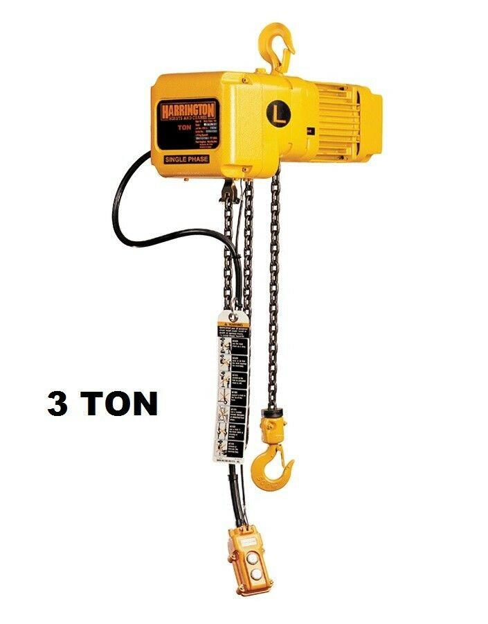 Harrington Sner Electric Chain Hoist 3 Ton Capacity Ebay