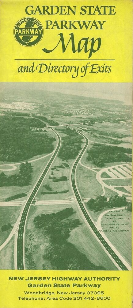Official 1970 Road Map Garden State Parkway New Jersey