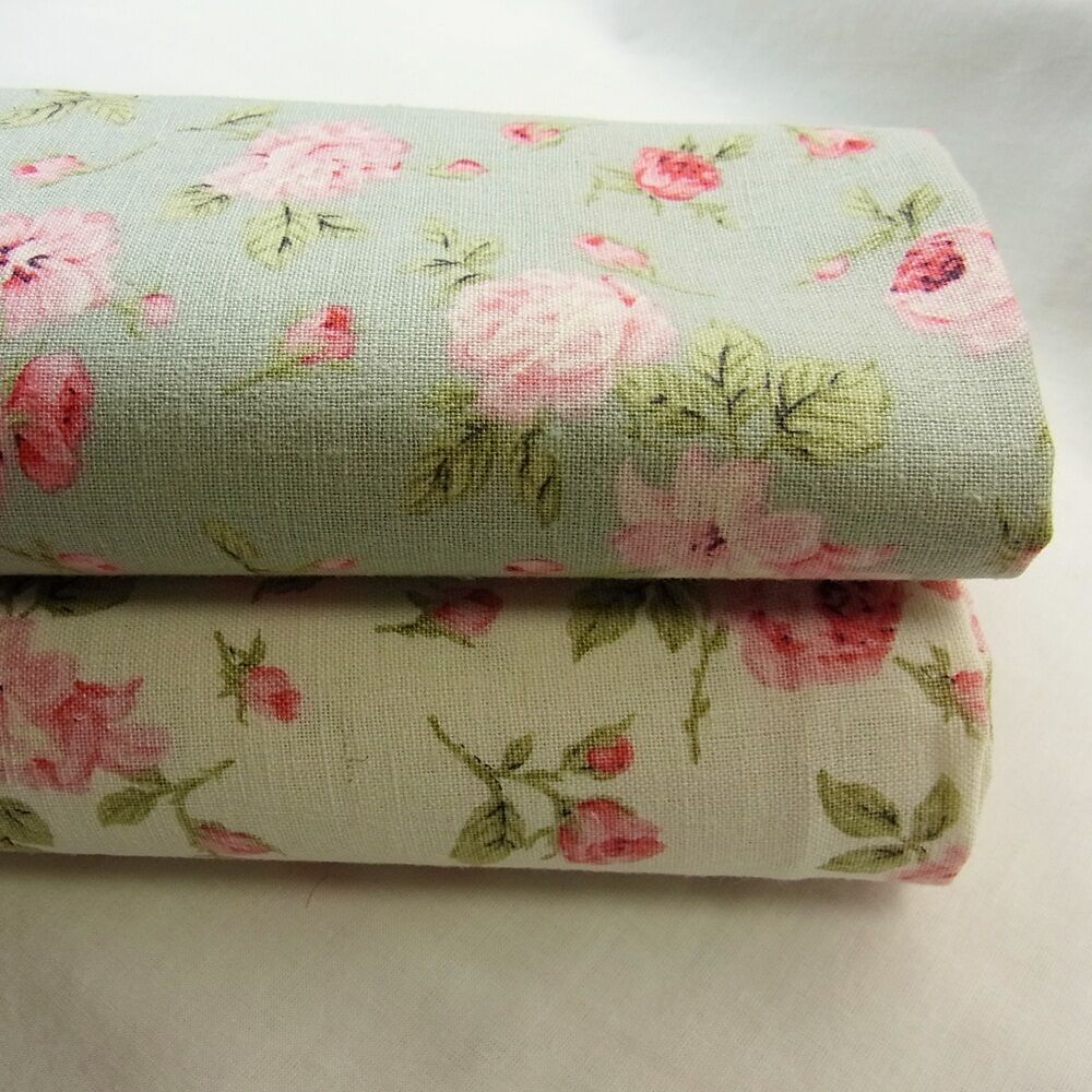 Linen cotton blend fabric floral shabby chic mint green for Linge shabby chic