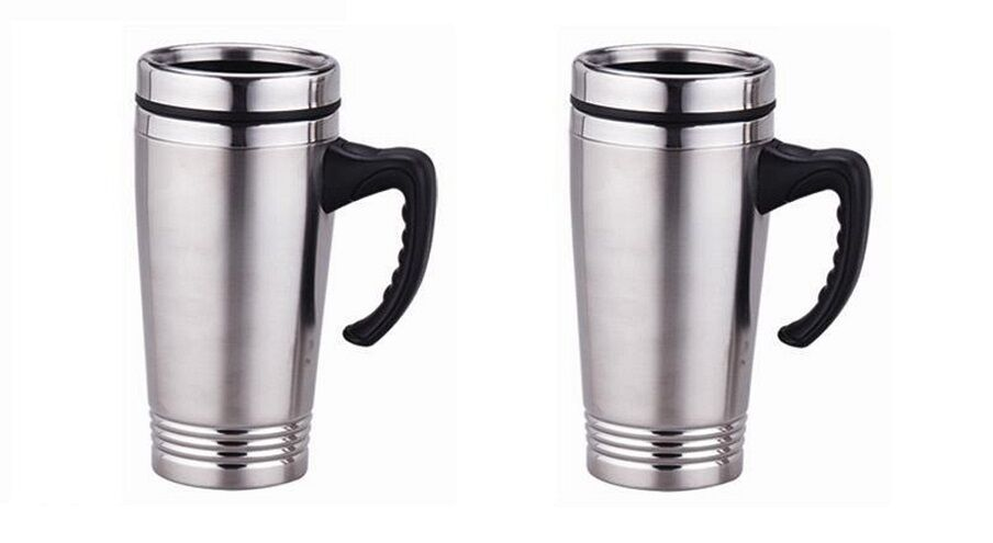 set of 2 stainless steel insulated double wall travel coffee mug cup 16oz new ebay. Black Bedroom Furniture Sets. Home Design Ideas