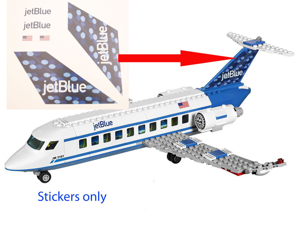 Jet Privato Lego City : Lego city custom jet blue stickers for passenger plane